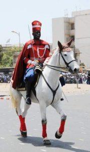 Cavalier Garde rouge du Sénégal en grande tenue